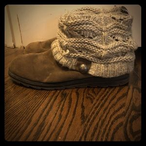 Muk Luks boots with sweater trim